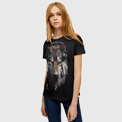 Женская 3D футболка с принтом Волк, фото на моделе #1