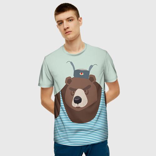 Мужская 3D футболка с принтом Русский медведь, фото на моделе #1