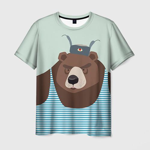 Мужская 3D футболка с принтом Русский медведь, вид спереди #2