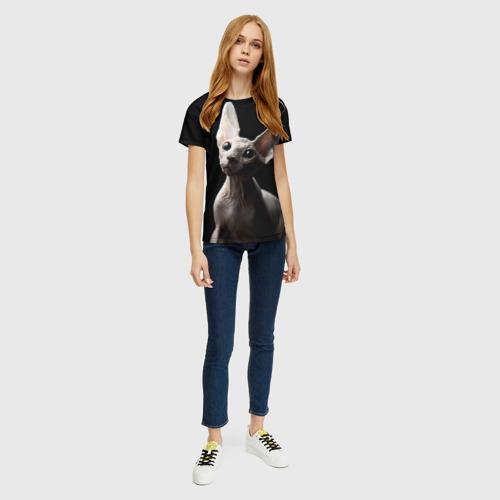 Женская 3D футболка с принтом Сфинкс, вид сбоку #3