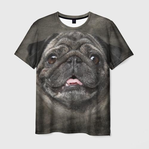 Мужская 3D футболка с принтом Мопс, вид спереди #2