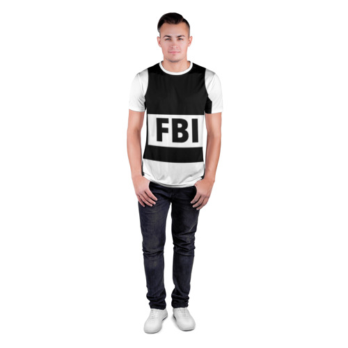 Мужская футболка 3D спортивная с принтом Бронежилет ФБР (FBI), вид сбоку #3