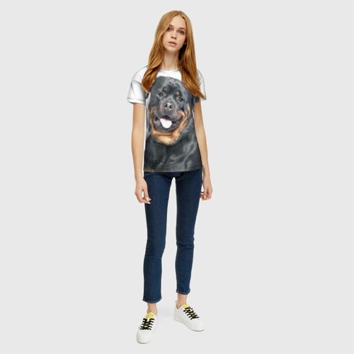 Женская 3D футболка с принтом Ротвейлер, вид сбоку #3