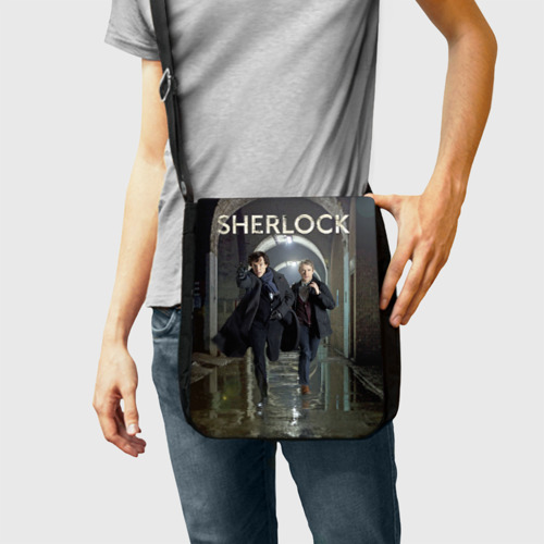 Сумка через плечо с принтом Sherlock, фото на моделе #1