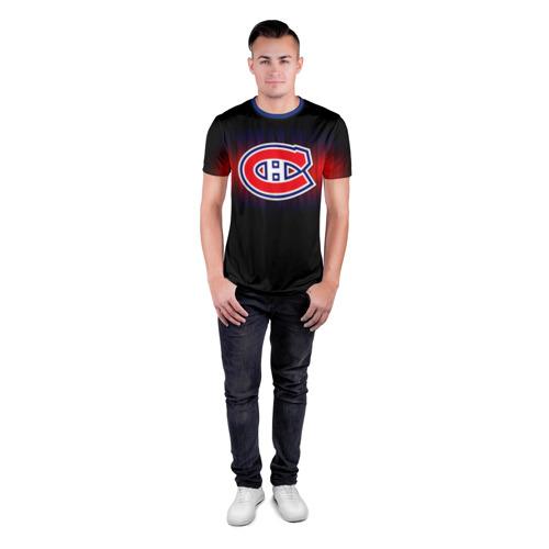 Мужская футболка 3D спортивная с принтом Монреаль Канадиенс, вид сбоку #3