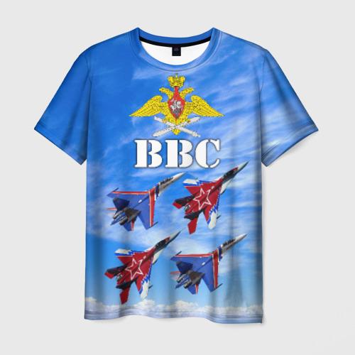 Мужская 3D футболка с принтом ВВС России, вид спереди #2