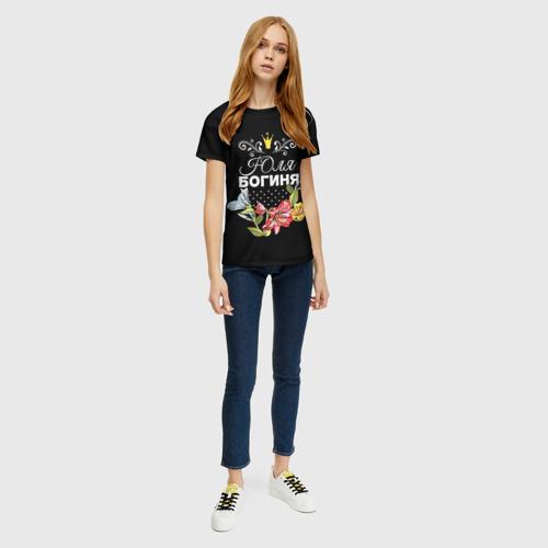 Женская 3D футболка с принтом Богиня Юля, вид сбоку #3