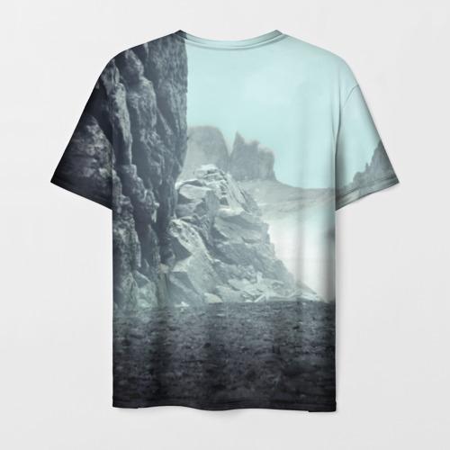 Мужская 3D футболка с принтом Волк в горах, вид сзади #1