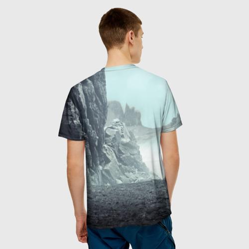 Мужская 3D футболка с принтом Волк в горах, вид сзади #2