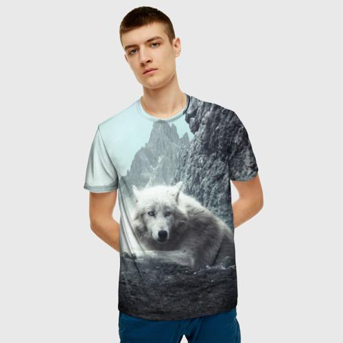 Мужская 3D футболка с принтом Волк в горах, фото на моделе #1