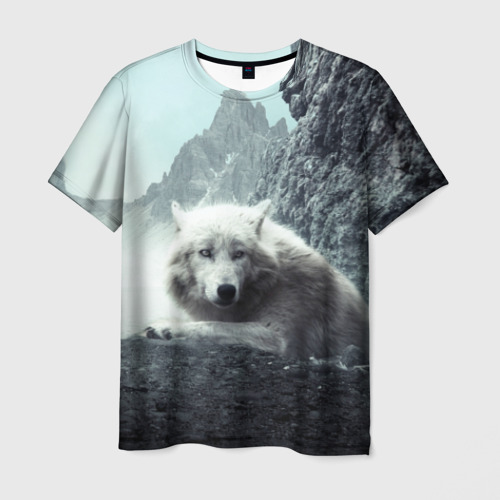 Мужская 3D футболка с принтом Волк в горах, вид спереди #2