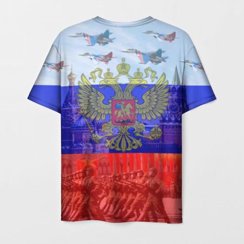Мужская 3D футболка с принтом Русский медведь и герб, вид сзади #1