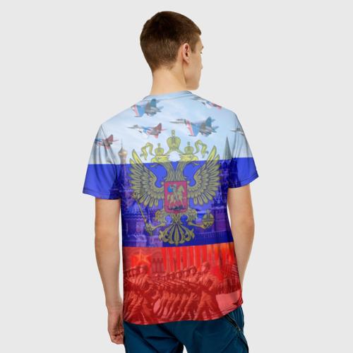 Мужская 3D футболка с принтом Русский медведь и герб, вид сзади #2