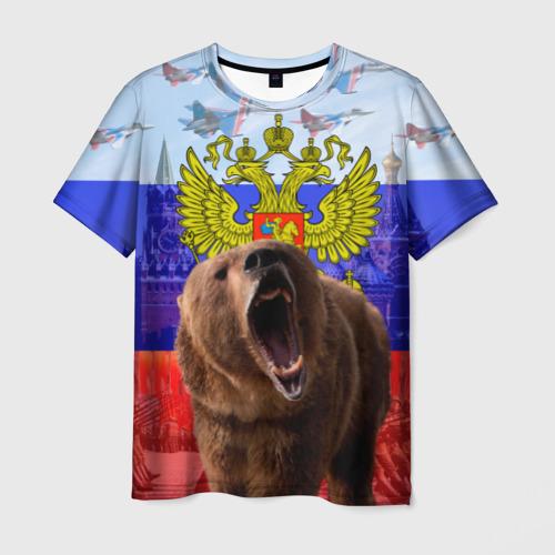 Мужская 3D футболка с принтом Русский медведь и герб, вид спереди #2