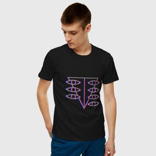 Мужская футболка с принтом Евангелион Glitch, фото на моделе #1