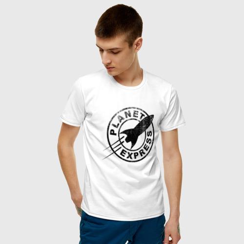 Мужская футболка с принтом Планетарный экспресс, фото на моделе #1
