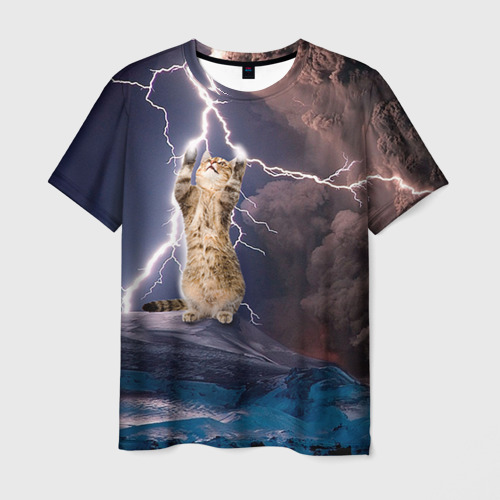 Мужская 3D футболка Кот и молния