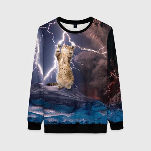 Женский 3D свитшот Кот и молния