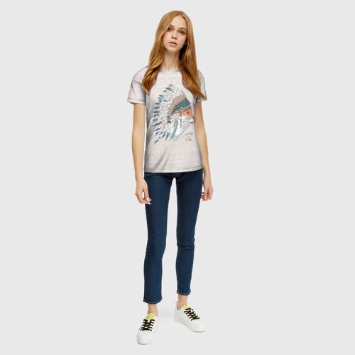 Женская 3D футболка с принтом Лиса в перьях, вид сбоку #3
