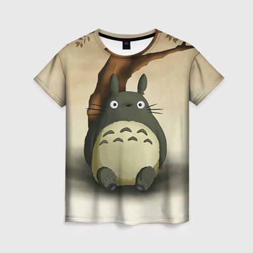 Женская 3D футболка Тоторо под деревом