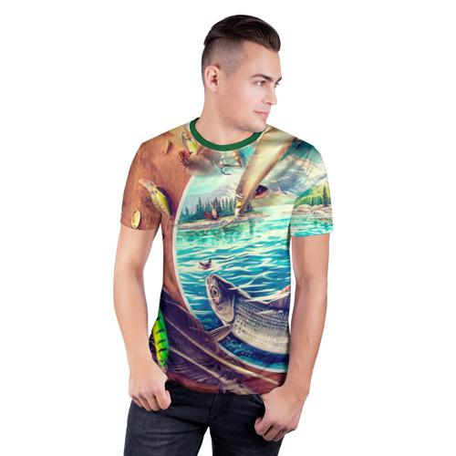 Мужская футболка 3D спортивная с принтом Рыбацкое, фото на моделе #1