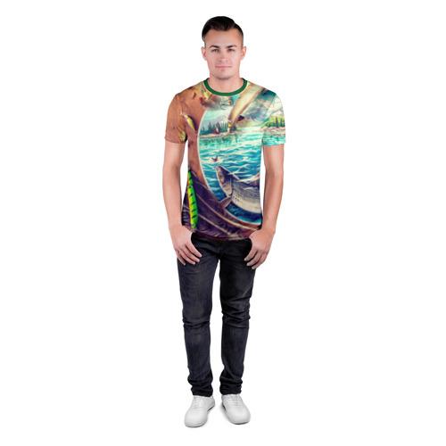Мужская футболка 3D спортивная с принтом Рыбацкое, вид сбоку #3