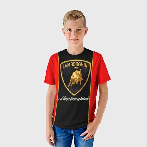 Детская 3D футболка с принтом Lamborghini, фото на моделе #1