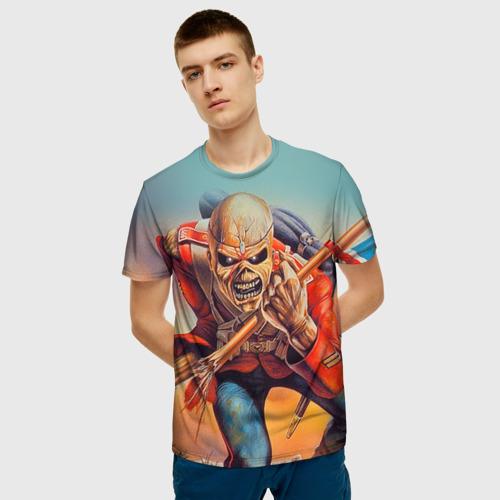 Мужская 3D футболка с принтом Iron maiden 5, фото на моделе #1