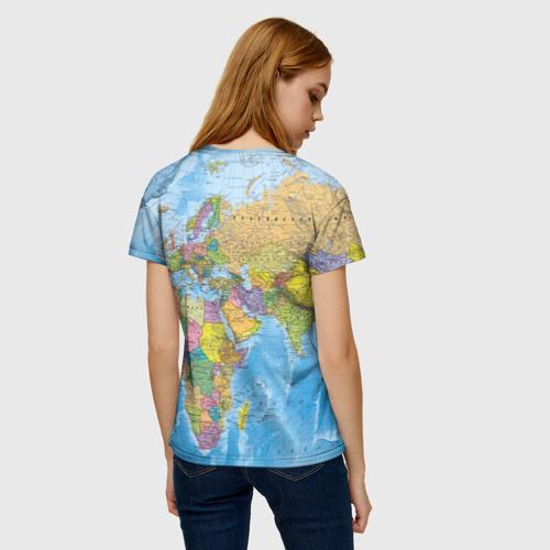 Женская 3D футболка с принтом Карта, вид сзади #2