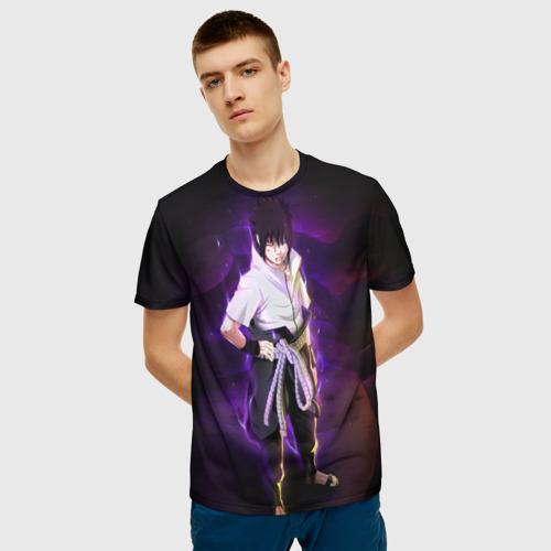 Мужская 3D футболка с принтом Наруто (Sasuke Uchiha), фото на моделе #1