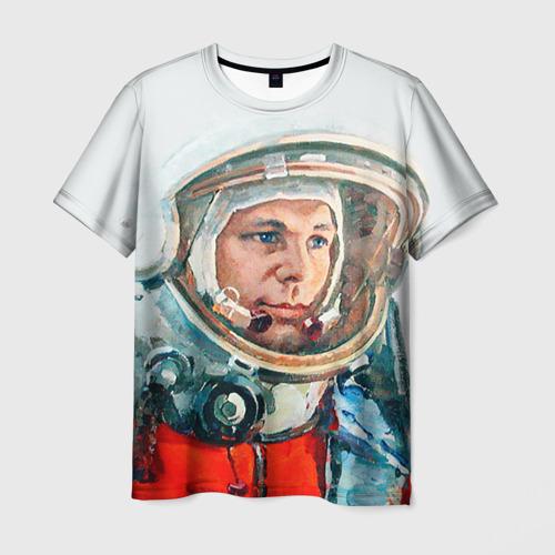 Мужская 3D футболка с принтом Гагарин, вид спереди #2