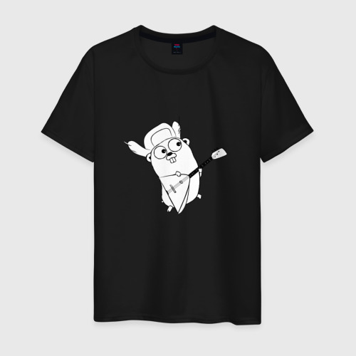 Мужская футболка с принтом Golang балалайка, вид спереди #2