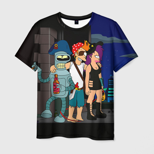 Мужская 3D футболка с принтом Футурама, вид спереди #2