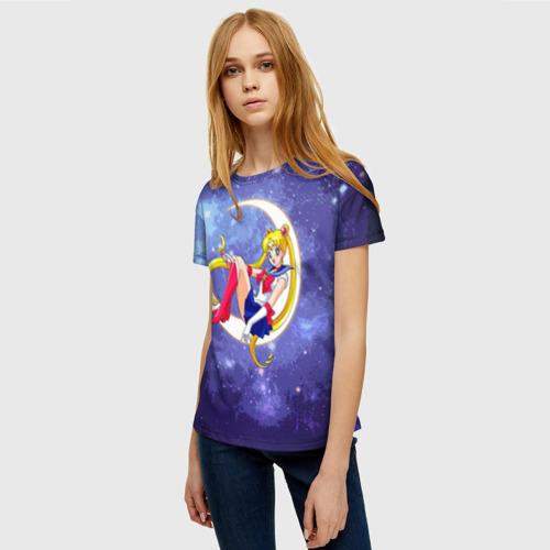 Женская 3D футболка с принтом Сейлор Мун в космосе, фото на моделе #1