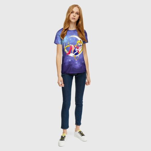 Женская 3D футболка с принтом Сейлор Мун в космосе, вид сбоку #3