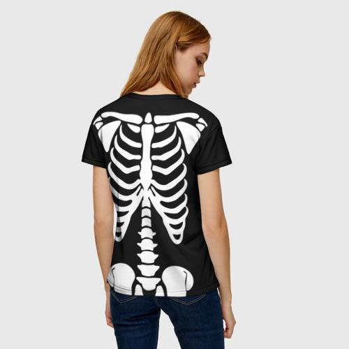 Женская 3D футболка с принтом Скелет, вид сзади #2