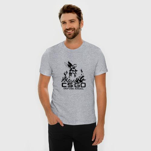 Мужская футболка премиум с принтом Cs:go - Defuse Angel, фото на моделе #1