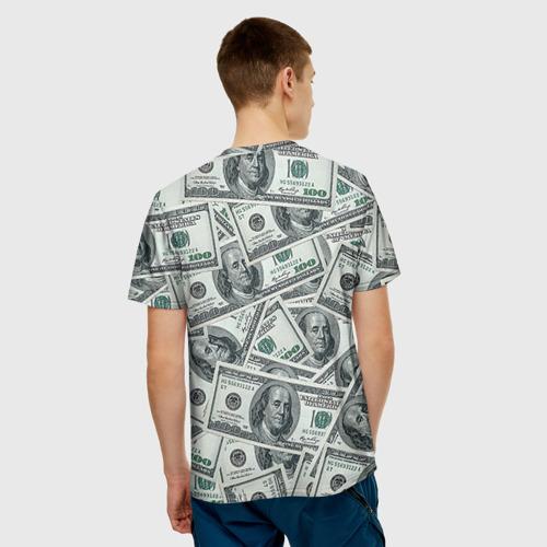 Мужская 3D футболка с принтом Банкноты, вид сзади #2