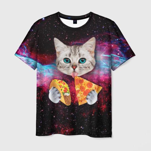 Мужская 3D футболка Кот с едой