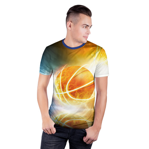 Мужская футболка 3D спортивная с принтом Баскетбол - жизнь моя, фото на моделе #1
