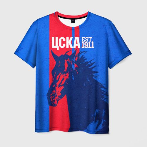 Мужская 3D футболка с принтом ЦСКА ФК, вид спереди #2