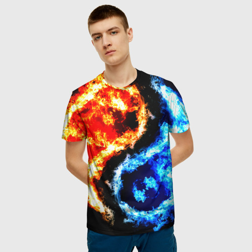 Мужская 3D футболка с принтом Огни, фото на моделе #1