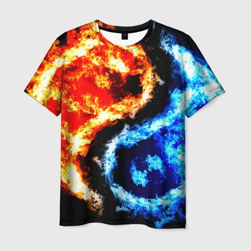 Мужская 3D футболка с принтом Огни, вид спереди #2
