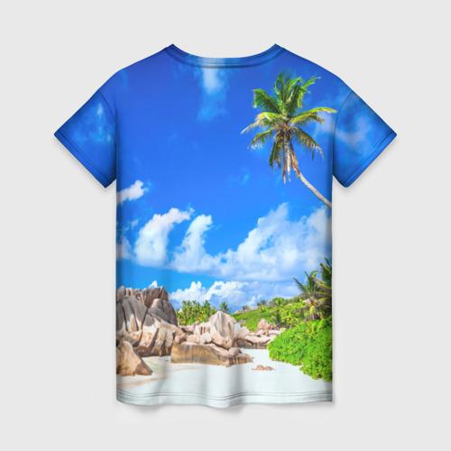 Женская 3D футболка с принтом Сейшельские острова, вид сзади #1
