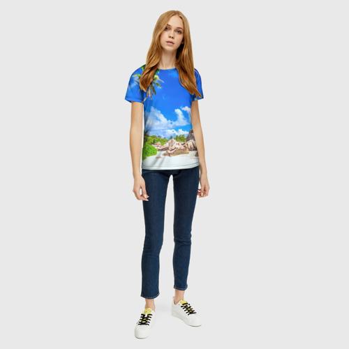Женская 3D футболка с принтом Сейшельские острова, вид сбоку #3