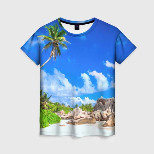 Женская 3D футболка с принтом Сейшельские острова, вид спереди #2