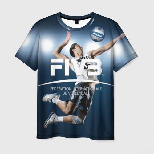 Мужская 3D футболка с принтом Волейбол 4, вид спереди #2