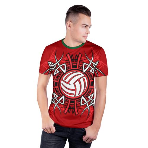 Мужская футболка 3D спортивная с принтом Волейбол 34, фото на моделе #1