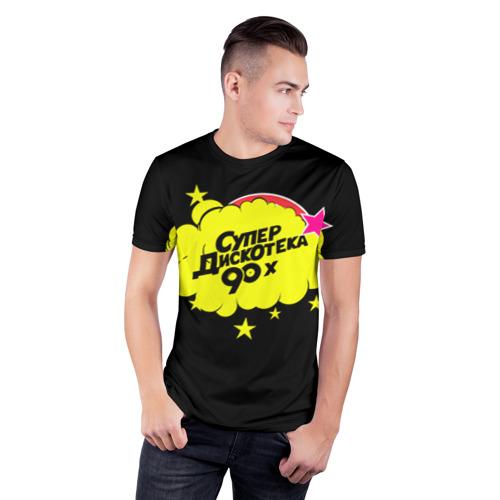 Мужская футболка 3D спортивная с принтом Супердискотека, фото на моделе #1