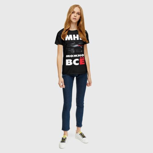 Женская 3D футболка с принтом BMW Мне можно всё, вид сбоку #3